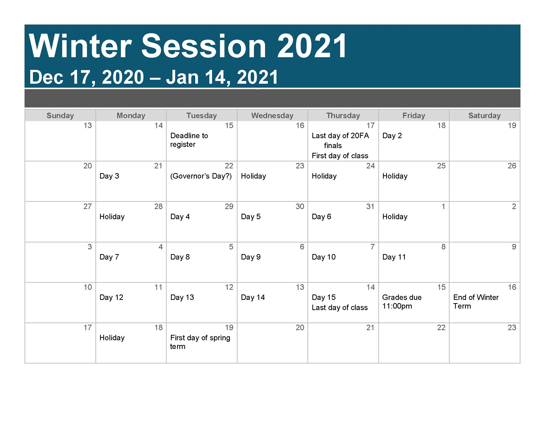 Winter Session — Frequently Asked Questions from Departments